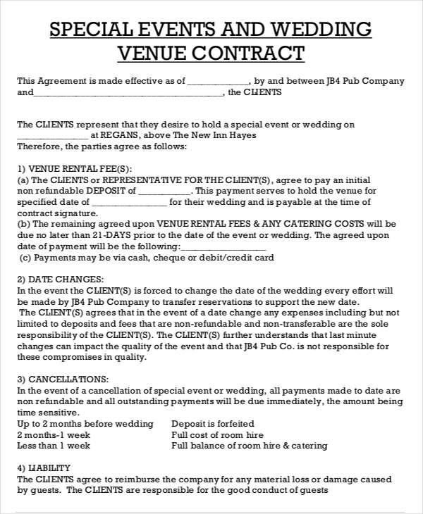 Catering Contract Sample In 2020 Venue Rental Event Planning
