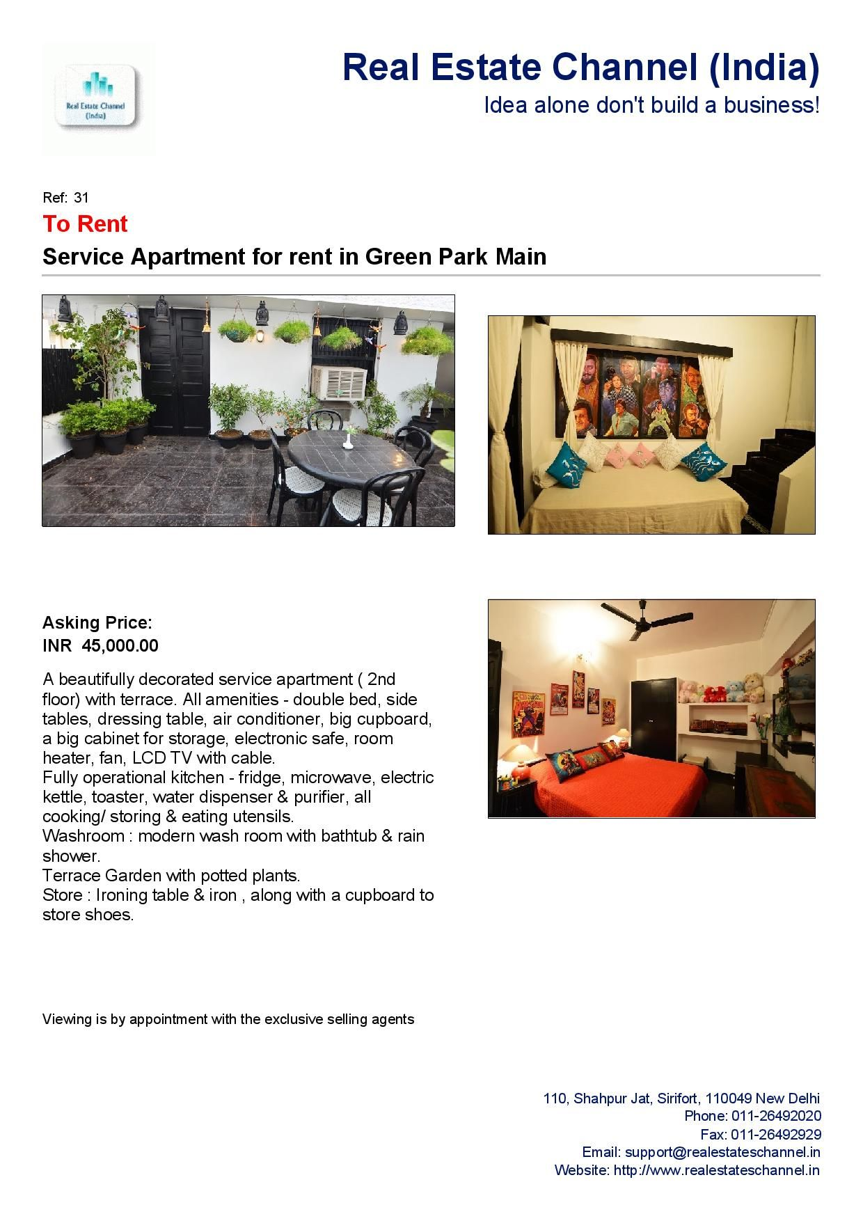 service apartment for rent in green park