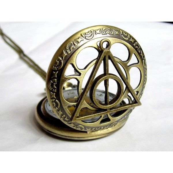 Joyplancraft Legendary Pocket Watch Necklace Deathly Hollows Charm... ($9.99) ❤ liked on Polyvore featuring jewelry, pendants, locket pocket watch, charm locket jewelry, charm jewelry, locket jewelry and charm lockets