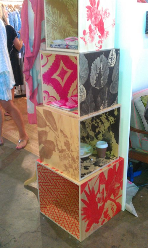 DIY Seal fun paper wall paper onto handbuilt cubes with modpodge - copy what is blueprint paper called