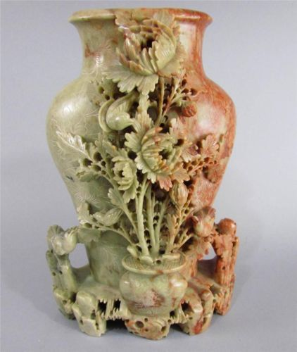 Antique chinese soapstone carving large vase with floral