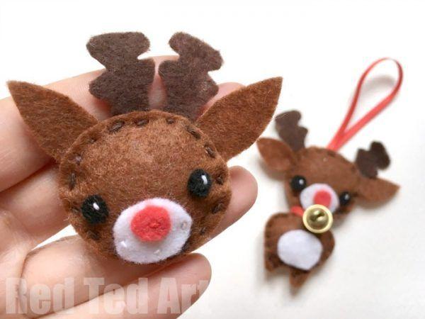 Felt Reindeer Ornament Red Ted Art Make Crafting With Kids Easy Fun Christmas Diy Sewing Diy Felt Christmas Ornaments Christmas Ornament Pattern