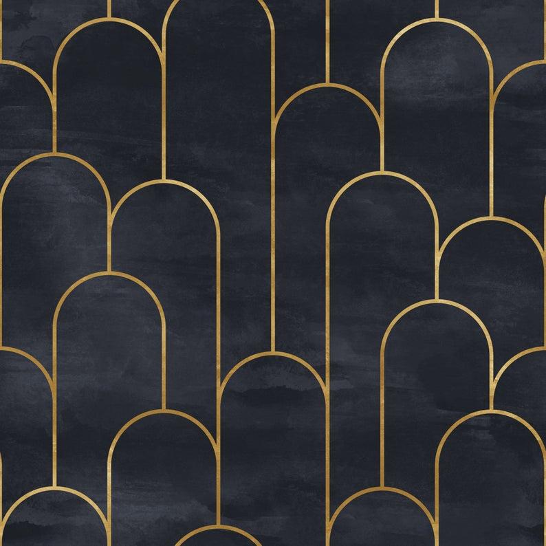 Geometric Art Deco Embossed Non Woven Wallpaper In Black Gold Etsy In 2021