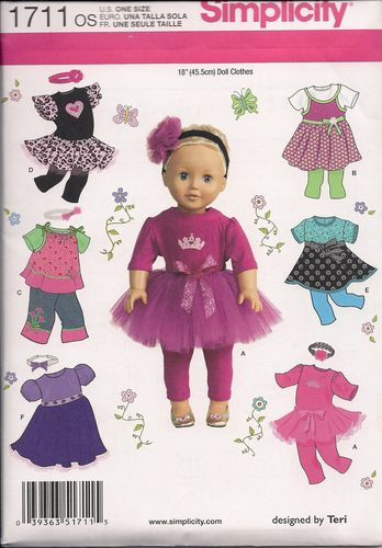 "Simplicity 1711 Sewing Pattern for 18"" Doll Clothes~ FREE shipping!"