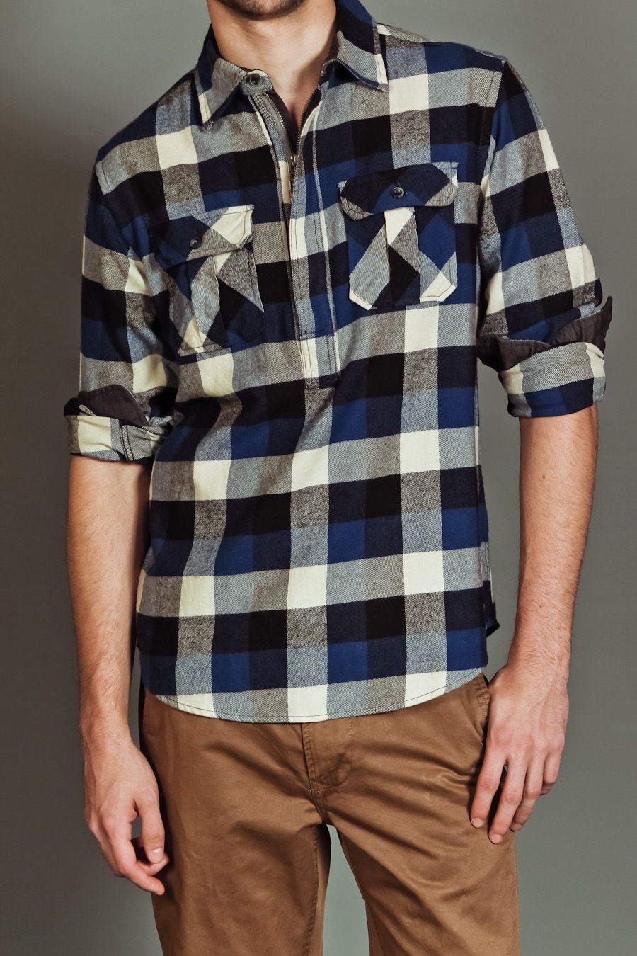 Flannel shirt with khaki pants  Jack Threads JACHS MAX PLAID SHIRT BLUEBLACK   What I should