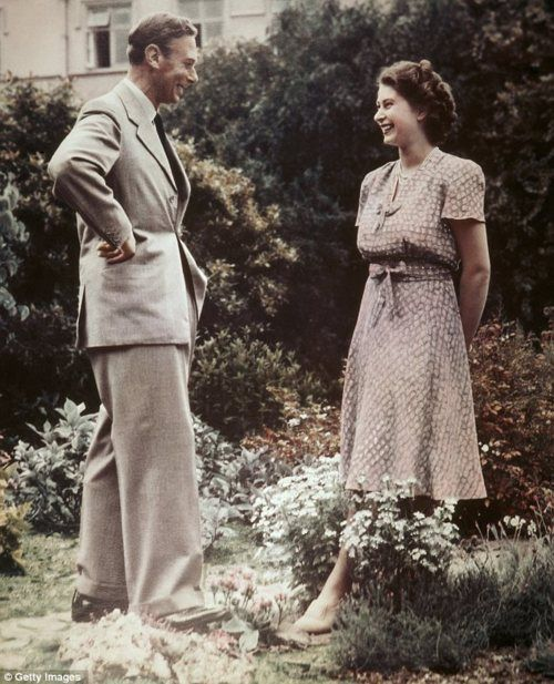 King George VI with his daughter before her trip to Kenya in 1952.
