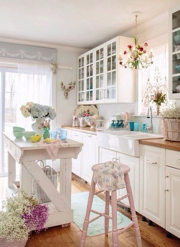 Shabby Chic Kitchen Island And Pale Pink Hign Stools My