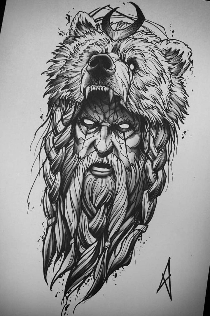 Bear Head Sketch Tattoo In 2020 Bear Tattoo Designs Mythology Tattoos Viking Tattoos