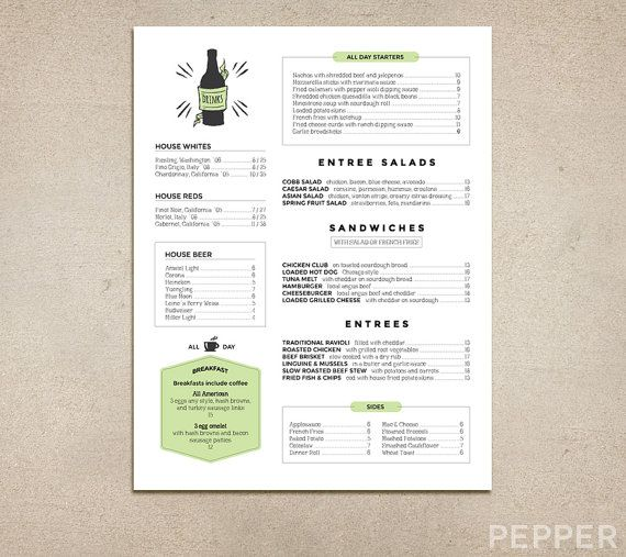Custom Restaurant Menu - Printable PDF - Diner, Pub, Coffee Shop - sample menu template