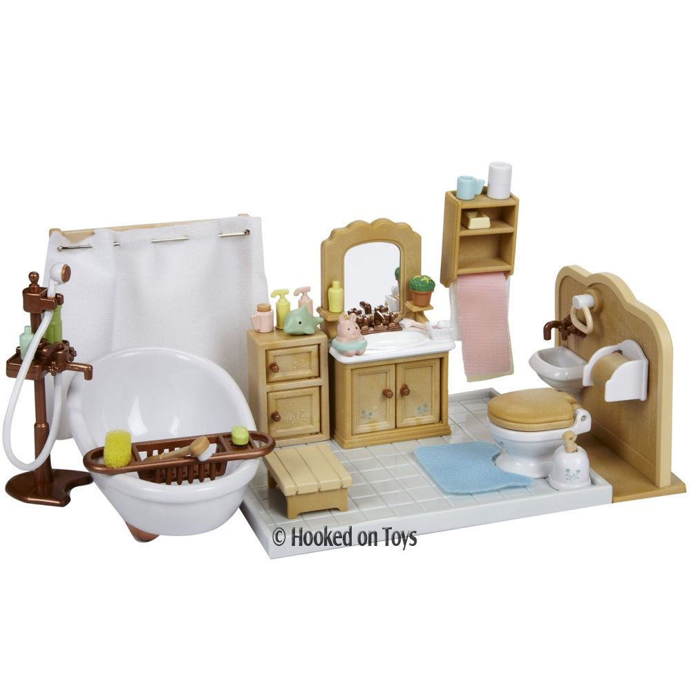 Calico Critters   Deluxe Bathroom Furniture Set CC2480 in Dolls   Bears   Dollhouse Miniatures. Calico Critters CC2480 Deluxe Bathroom Set   Animals  Miniature