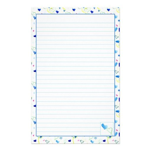 Blue Hearts Watercolor Lined Letter Writing Paper Blues