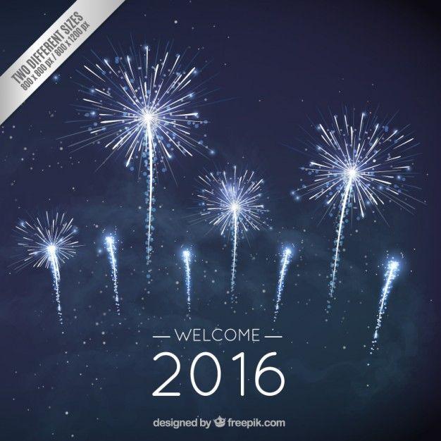 Fondo De Fuegos Artificiales De Ano Nuevo En Color Azul Oscuro