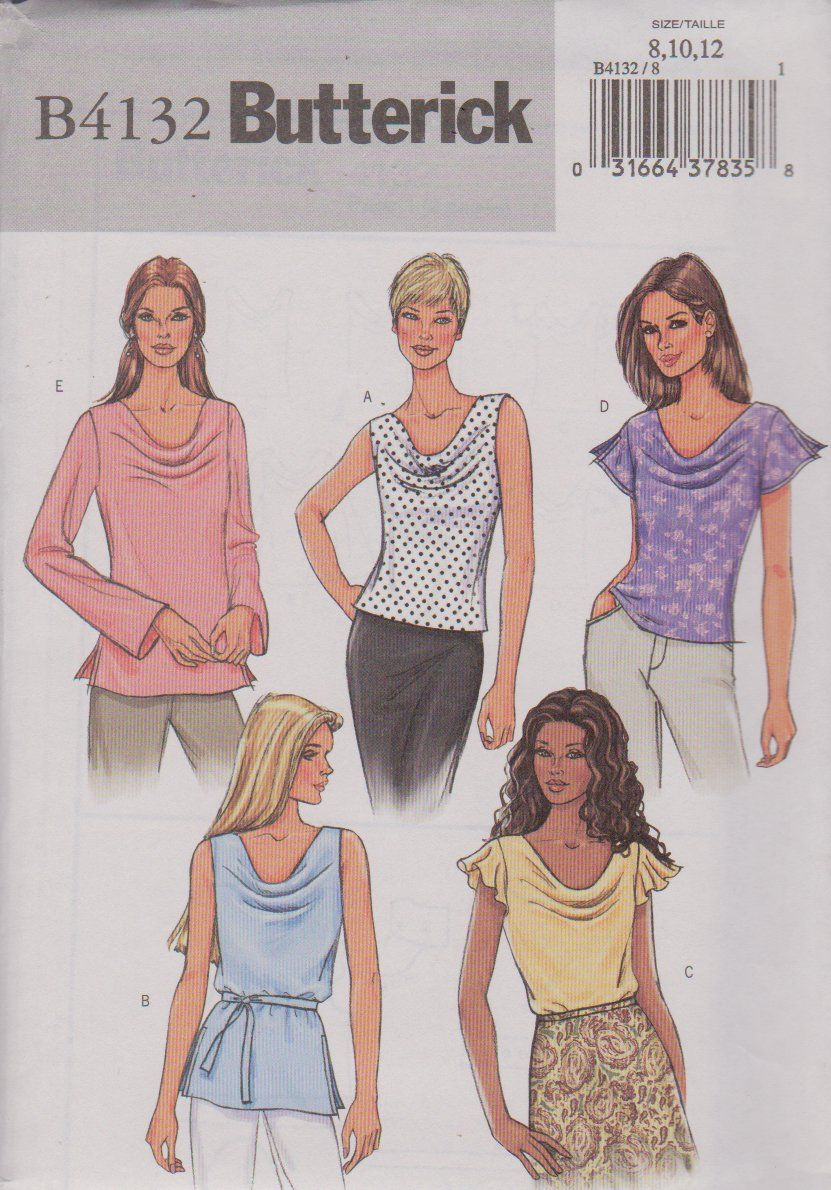 e76abf3cb786 Butterick Sewing Pattern 4132 B4132 Misses Size 8-10-12 Easy Pullover Cowl  Neck Top Tunic Belt ...