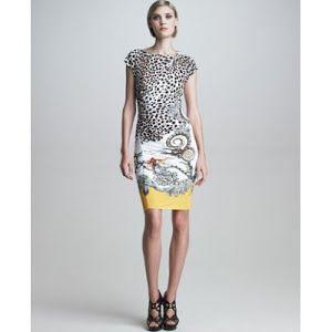Roberto Cavalli Cap-Sleeve Mixed-Print Dress|Animal Print Dress ...