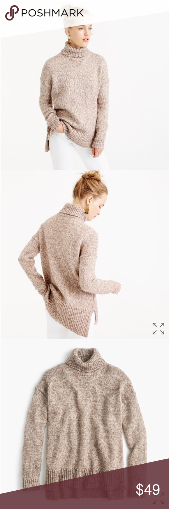 J. Crew Italian Wool Blend Tan Marled Turtleneck J. Crew Italian Wool Blend Tan Marled Turtleneck. Size Large.  Sadly, I'm re-poshing this one.  The tag says large but this runs big!  It's a beautiful, thick, cozy sweater but too big for me.  I was hoping for the oversized look like the model pic, but it was even bigger than that on me 😕. Still has tags on it. Make me an offer 😉 J. Crew Sweaters Cowl & Turtlenecks