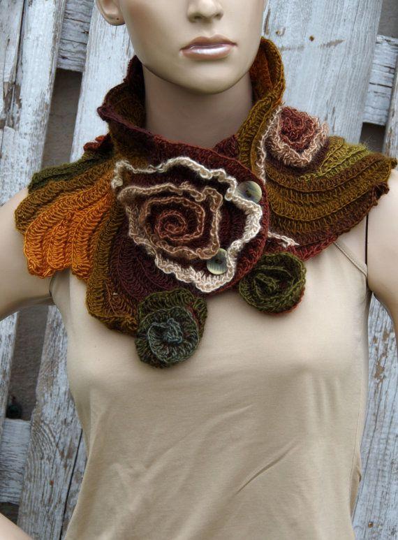 Crochet Scarf Capelet Neck Warmer Unique scarf Roses Purple Brown ...
