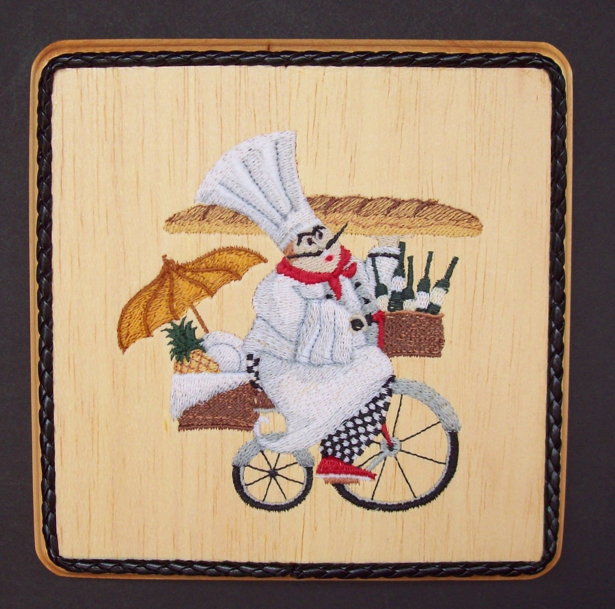 French chef embroidery wood art kitchen wall decor french country