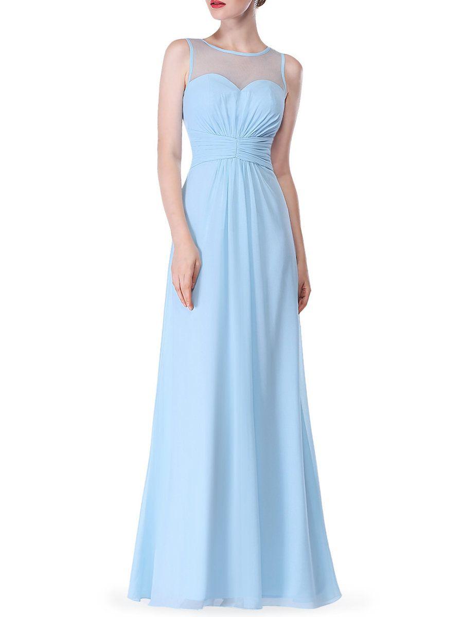 Cici wang light blue solid satin sleeveless evening dress adorewe
