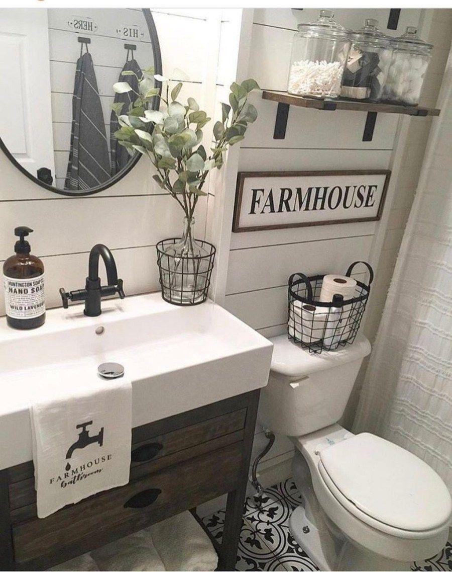 46 Gorgeous Farmhouse Bathroom Ideas With Rustic Designs Trendehouse Trendy Bathroom Small Bathroom Remodel Farmhouse Bathroom Decor