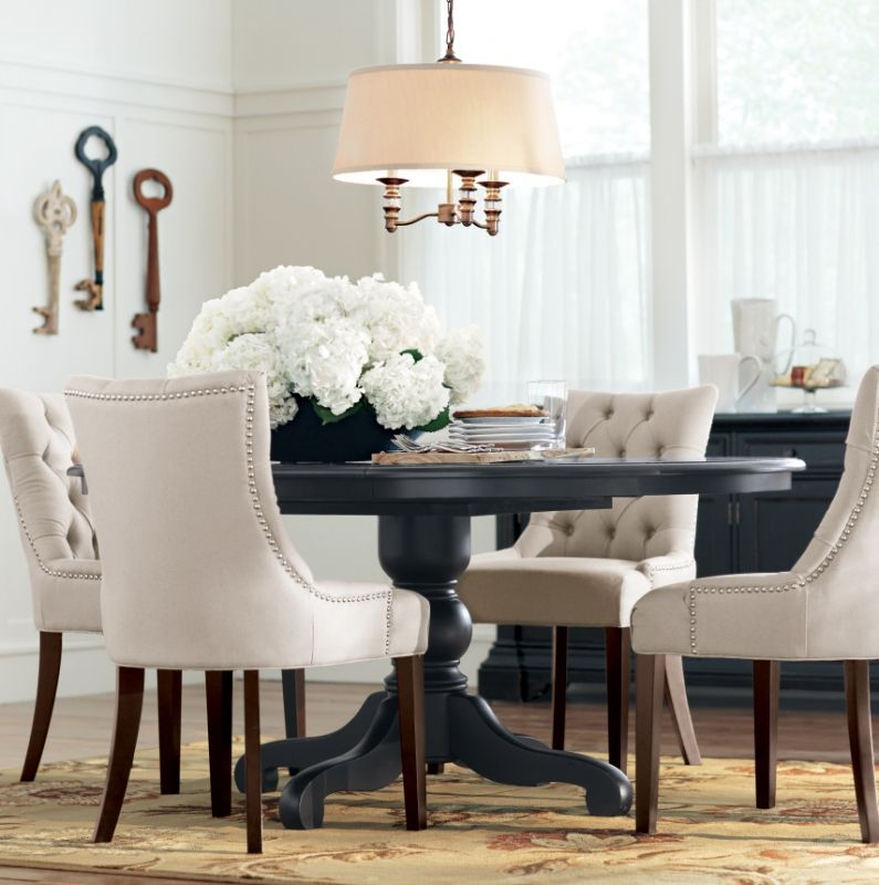 Love The Black Table Paired With White Tufted Chairs