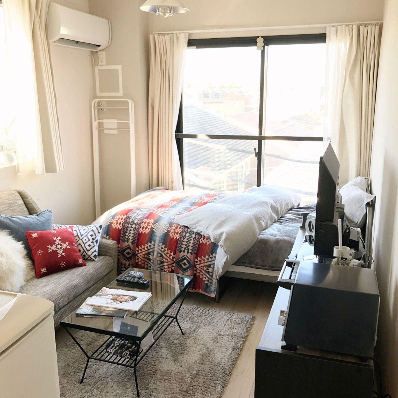 部屋全体 6畳 ひとり暮らし 賃貸 ワンルーム などのインテリア実例 2017 12 24 07 53 31 Roomclip ルームクリップ インテリア インテリア 家具 小さなベッドルームのデザイン
