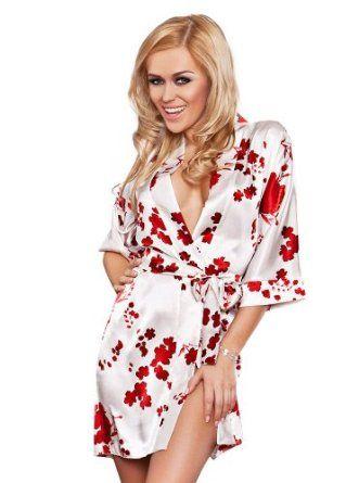 DKaren Ladies Satin Dressing Gown   short satin Robe - Made in EU   Amazon.co.uk  Clothing 7534a9468
