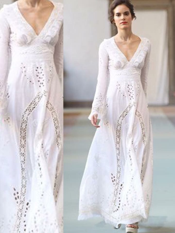 Ivory Cotton Voile V Neck Long Dress With Embroidery And Lace Inserts Linen Wedges Luisabeccaria Collection Spring Summer 2017