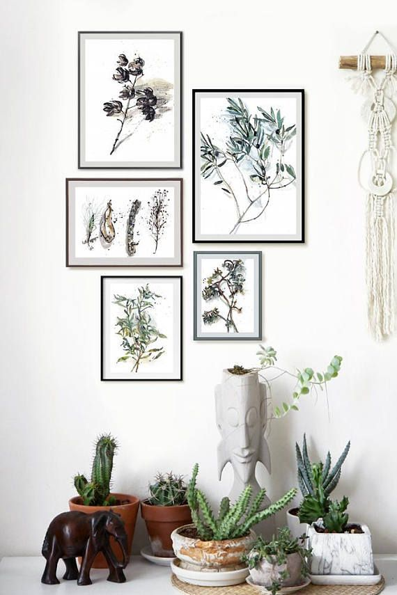 Green Leaves Gallery Wall Set, Abstract Botanical Watercolor Painting Set of 5, Green Leaf Boho Living Room Wall Art, Nature Lovers Gift