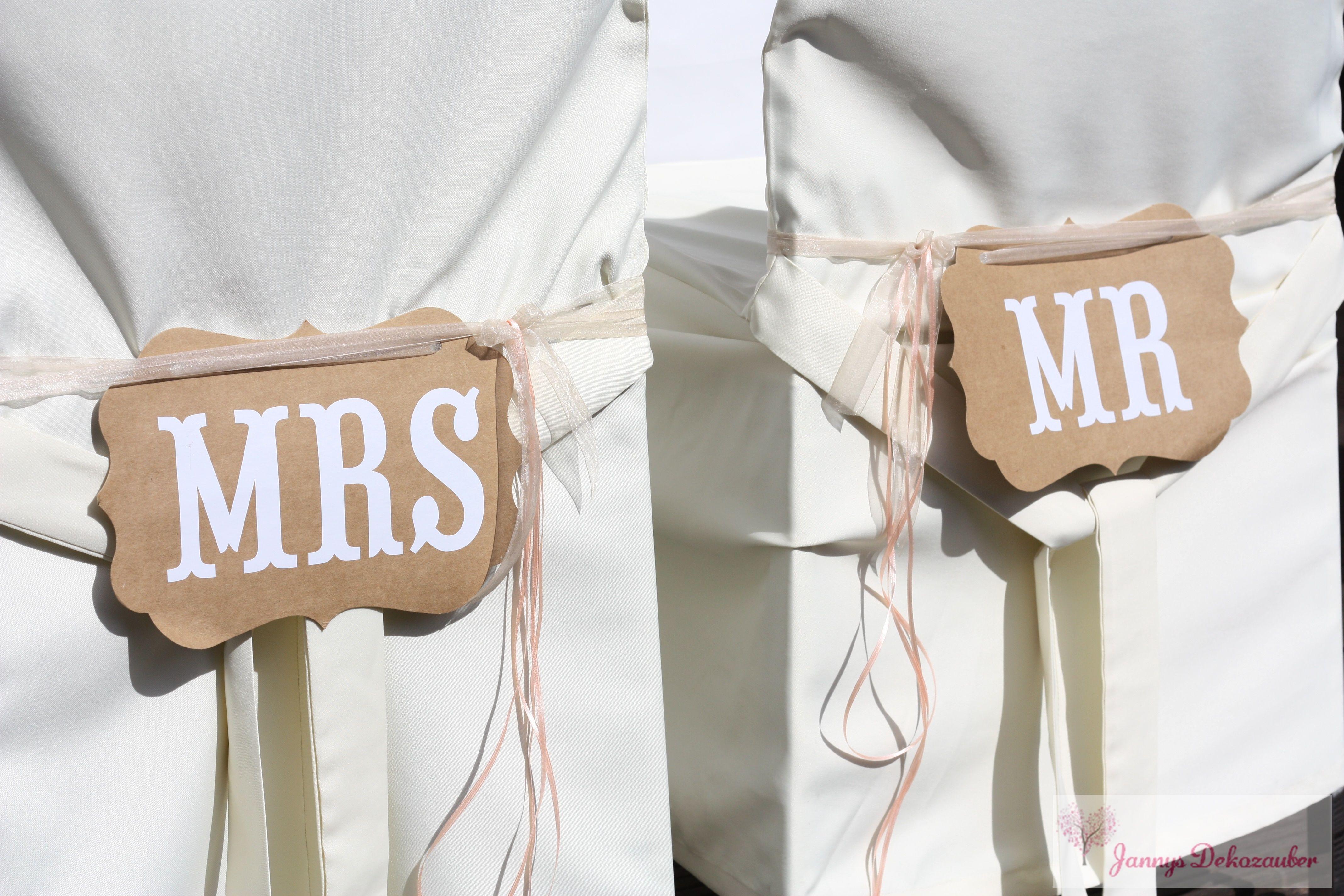 Dekoration für Brautstühle Mr & Mrs Vintage Hussen rustikal