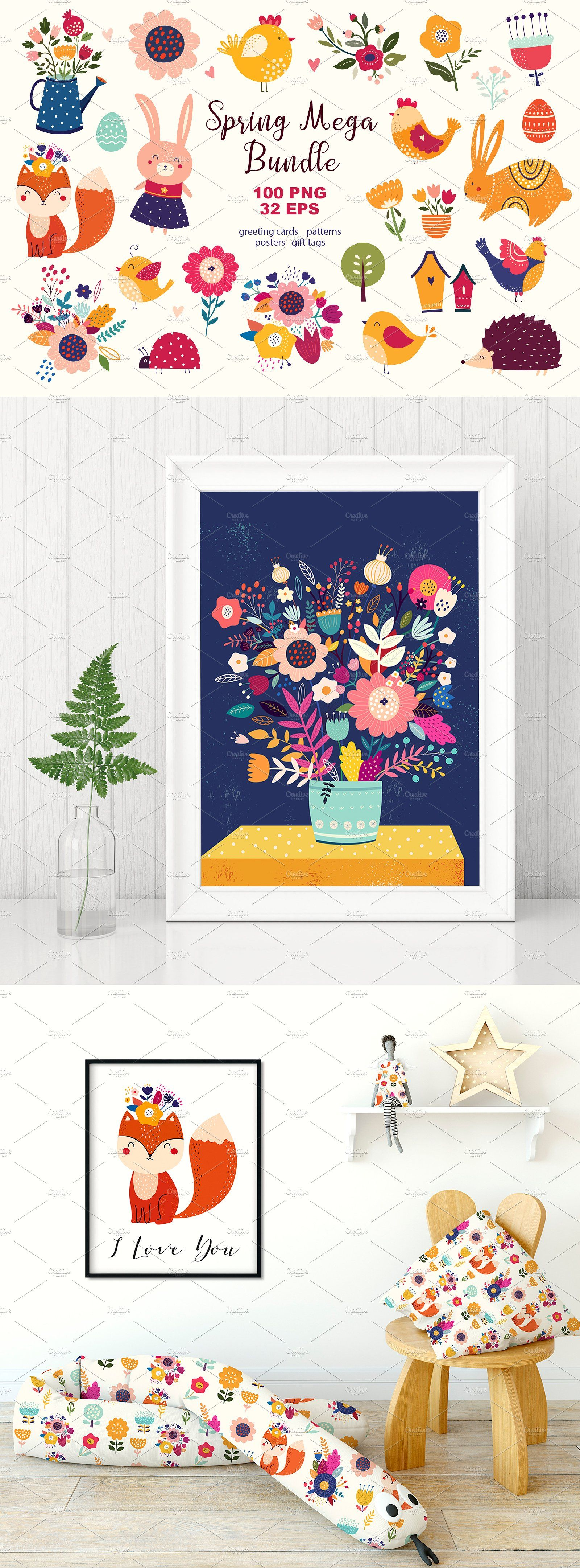Spring mega bundle sprint trade pinterest illustration fonts this collection included happy easter greeting cards cute characters tags banners labels decorative elements symbols seamless patterns with cute m4hsunfo