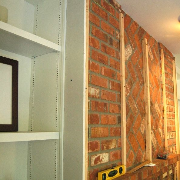 Our Transformed Fireplace: Before & After | Drywall, Bricks and ...