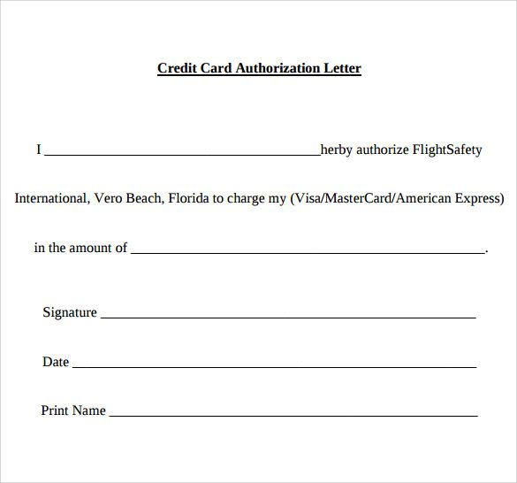 Sample Credit Card Authorization Letter Free Examples Format Best