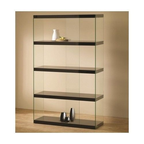 Black Glass Display Showcase Modern Case Trophy Shelves Storage Cabinet FreeStandingDisplayCase
