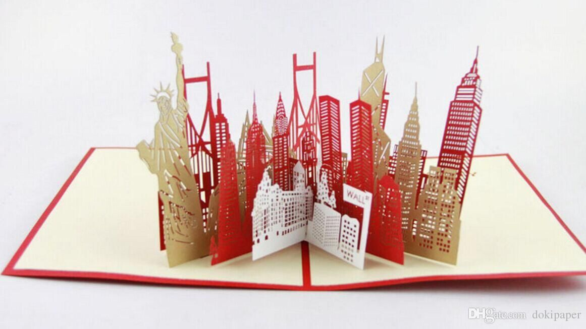 New York City Skyline In Pop Up Card Greeting Card 3d Gift Card Gift For Travelers Personalised Greeting Card Personalised Greeting Cards From Dokipaper 6 92 Pop Up Cards Pop Up Cards