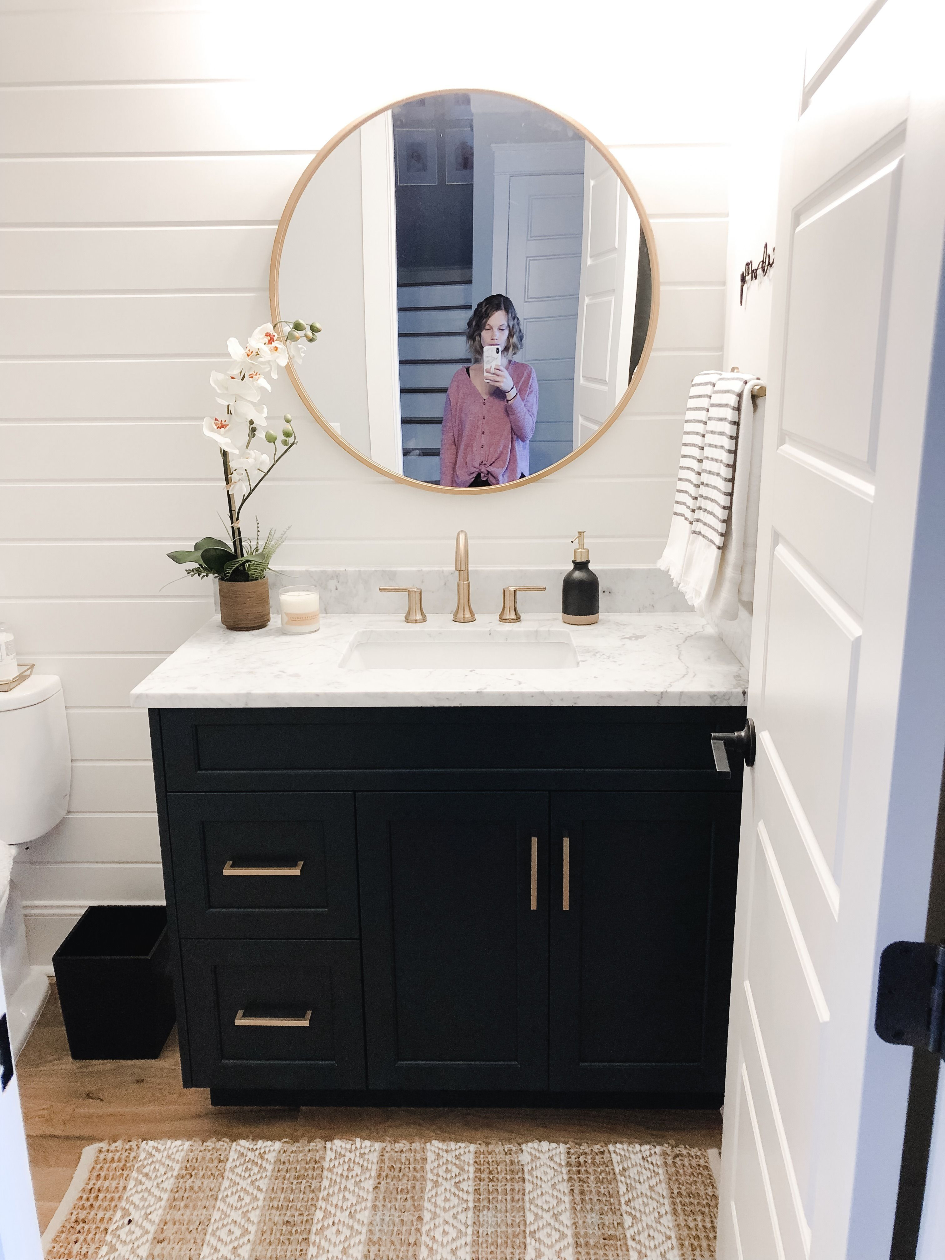 Powder Room Reveal Home By Kmb Gold Mirror Bathroom Round Mirror Bathroom Modern Bathroom