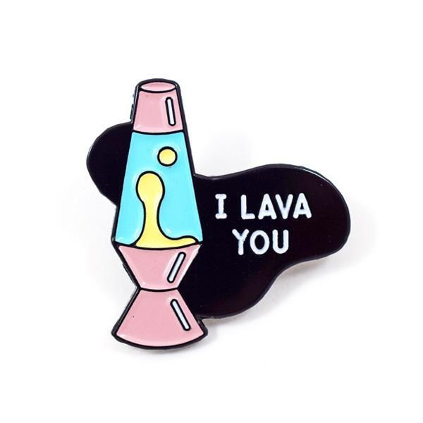 """Let your trippy affections flow with our I Lava You pin, the response is sure to be far out. - 1.25"""" Hard Enamel - Design by Rachel Peck"""
