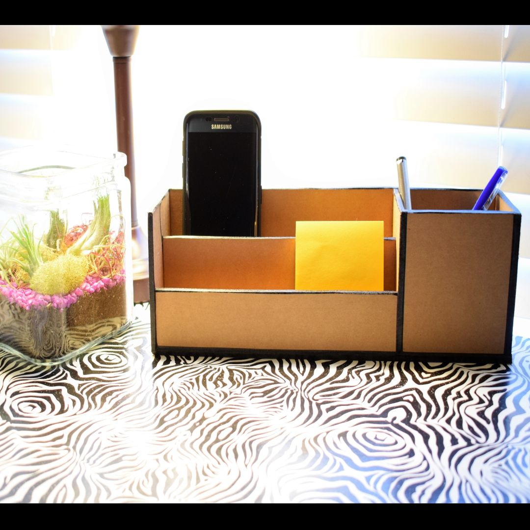 DIY: Office Desk Organizer using waste cardboard box images