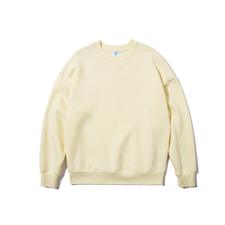 Unisex Solid Color O-Neck Sweatshirt – L / Apricot