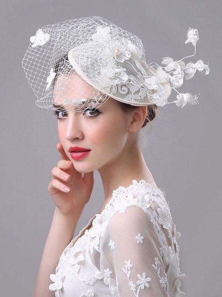 White Wedding Fascinator Hat Royal Birdcage Veil Flowers Applique Retro Bridal Headpieces #bridalheadpieces