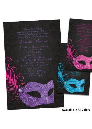 Masquerade Quinceanera Invitations Quince Pinterest
