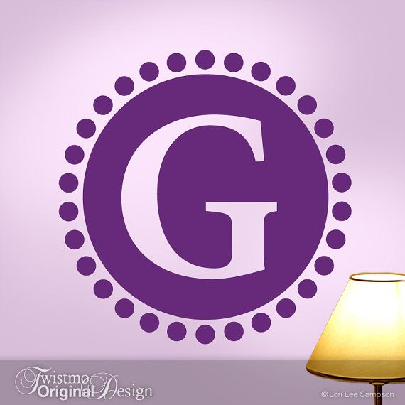 Custom Monogram Decal Circle Of Dots Decor With Large Initial - Custom vinyl wall decals circles