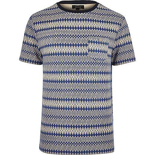 Navy geometric pattern t-shirt - print t-shirts - t-shirts / tanks - men