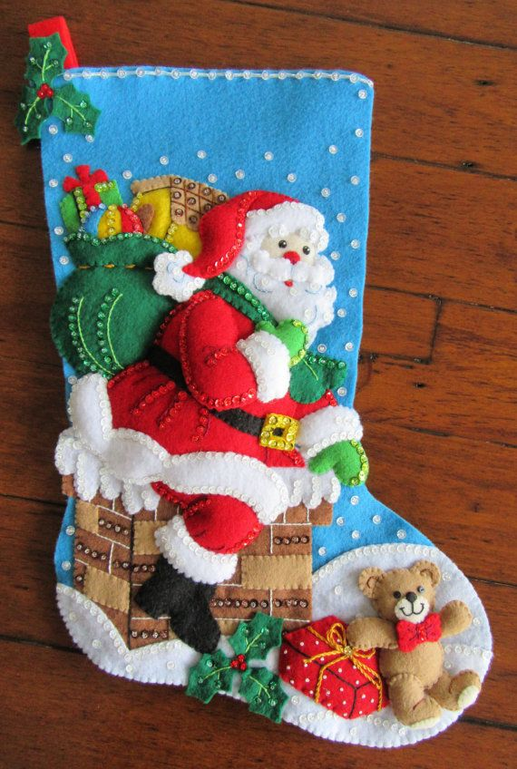 FULLY LINED Finished Bucilla Christmas Stocking Down the Chimney