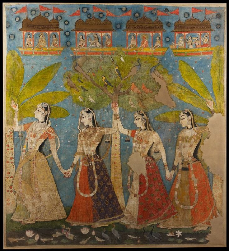 Rajasthani - Portraiture, court life, and mythological scenes - Royal portraits; The gopis dance in the forest, or Sarat Purnima, Kishangarh, 1720-1725.