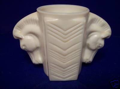 Double Horse Head Milk Glass Vase | Milk glass vase, Milk ...