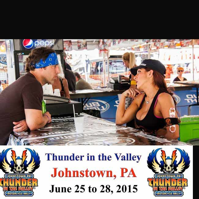 Bartender at Rally talking to attendee -Pictures from the 2014 Johnstown Thunder in the Valley - June 26 to 29, 2015 - Johnstown, PA  **Over 100 Pictures - http://blog.lightningcustoms.com/thunder-in-the-valley-pics/ **Info & VIDEO - http://www.lightningcustoms.com/thunder-inthe-valley.html  #johnstownthunder