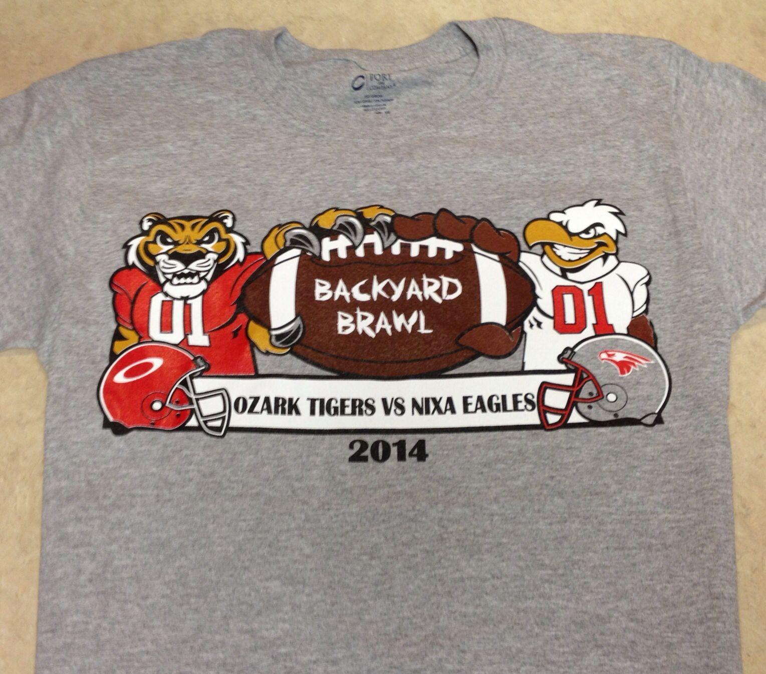 ozark tigers vs nixa eagles backyard brawl 2014 football shirt
