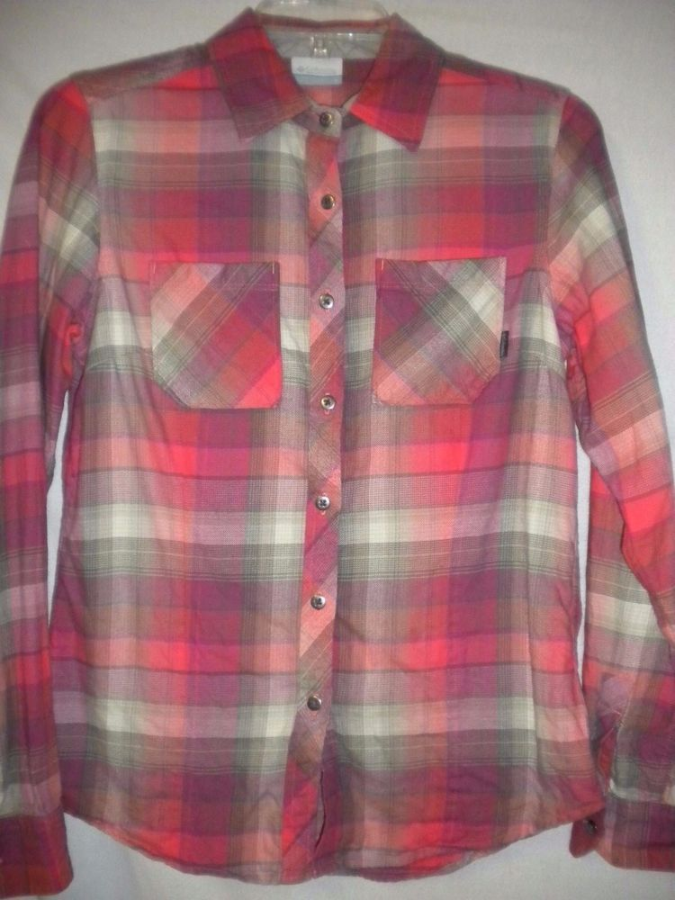 6c05de389caad9 Columbia Size Small Pink Coral Beige Plaid Long Sleeve Women Flannel Shirt  #Columbia #ButtonDownShirt #Versatile