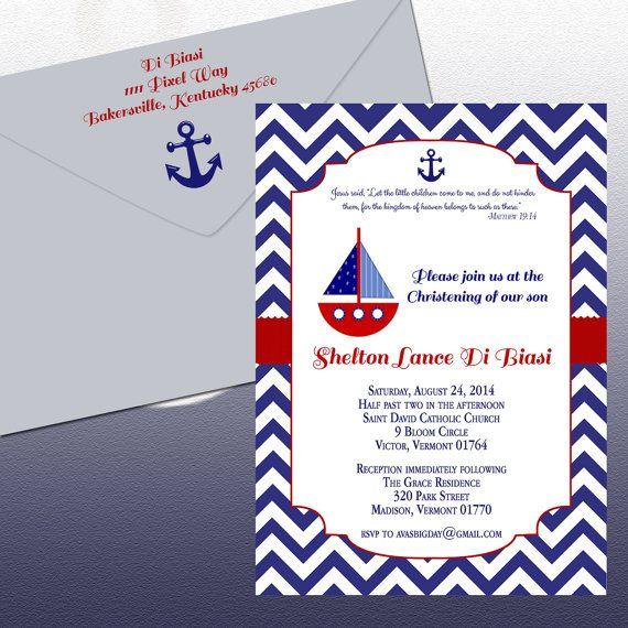 Diy Nautical Theme Christening Invitation Sail Boat And Anchor Invitation Printable File On Etsy Nautical Invitations Christening Invitations Christening