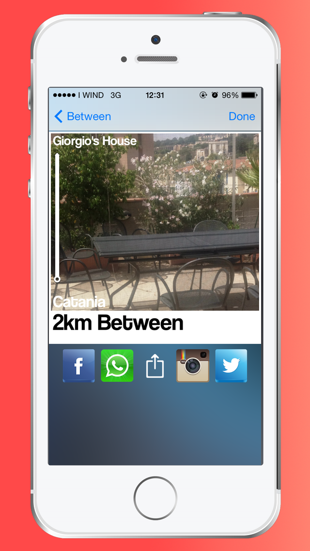 """Between - Distance Calculator, iOS App: """"Between - Distance Calculator"""", choose a destination takes the picture and see how far it is from where you are.  For example, choose the Eiffel Tower and take a picture or a selfie."""